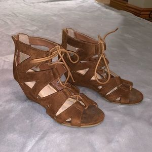 Maurices suede lace up wedges